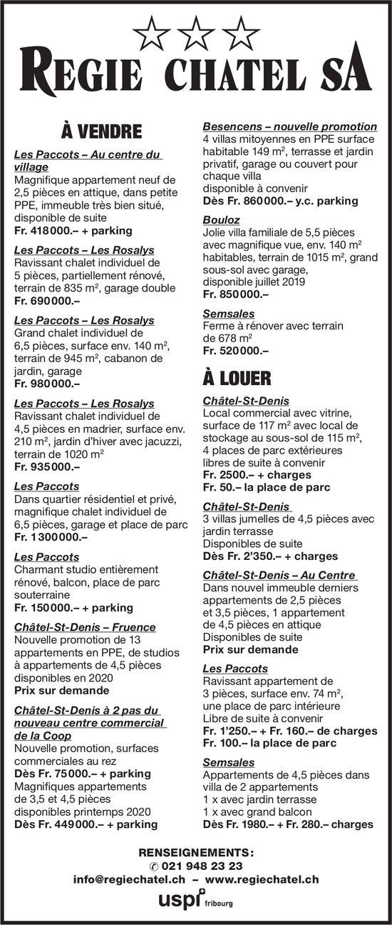 Regie Chatel SA - à vendre et à louer
