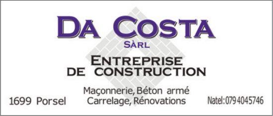 Da Costa Sàrl, Porsel, entreprise en construction