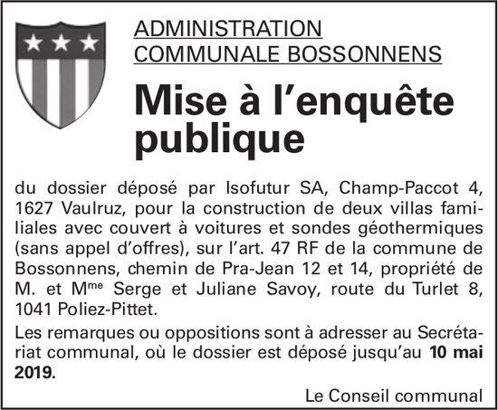 Mise à l'enquête publique - Administration Communale Bossonnens