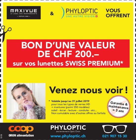 PHYLOPTIC - Bon d'une valeur de CHF 200.- sur vos lunettes Swiss premium