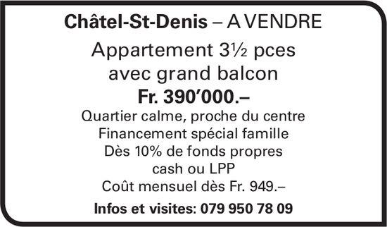 Appartement 3½ pièces, Châtel-St-Denis, à vendre