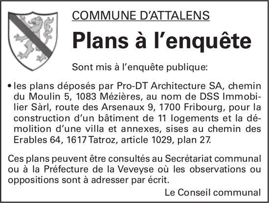 Plans à l'enquête - Commune d'Attalens