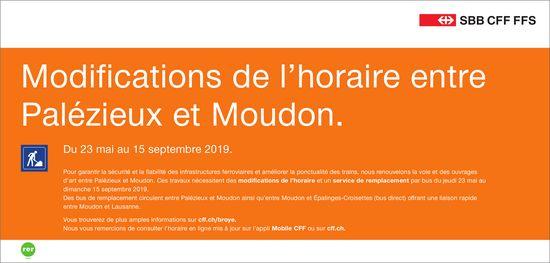 SBB CFF FFS - Modifications de l'horaire entre Palézieux et Moudon 23 mai au 15 septembre 2019.