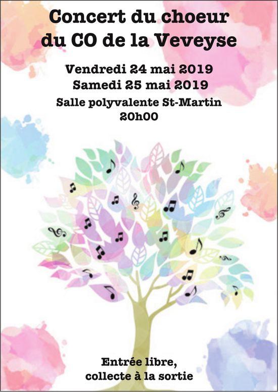 Concert du choeur du GO de la Veveyse, 24 et 25 mai, Salle polyvalente, St-Martin