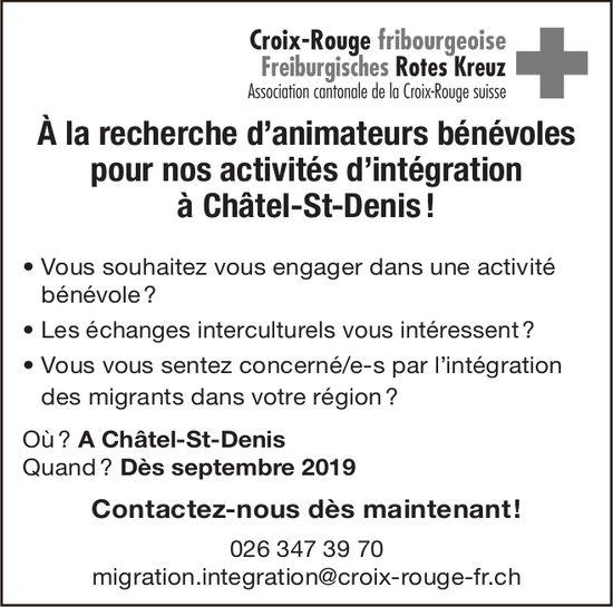Animateurs bénévoles pour nos activités d'intégration, Croix-Rouge fribourgeoise, Châtel-St-Denis