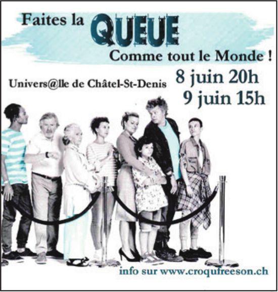 Faites la QUEUE Comme tout le Monde, 8 et 9 juin,  Univers@lle, Châtel-St-Denis