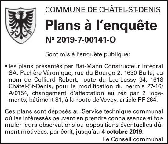 Commune de Châtel-St-Denis - Plans à l'enquête No 2019-7-00141-O