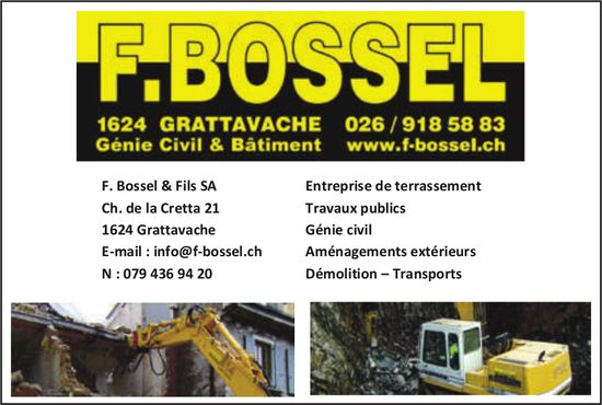 F. Bossel & Fils SA, Grattavache, Entreprise de terrassement