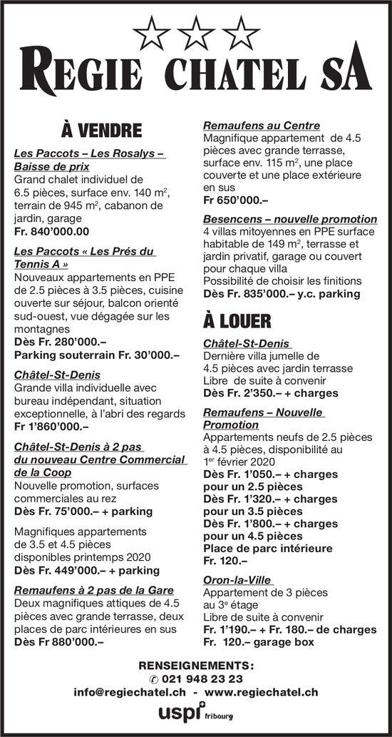 REGIE CHÂTEL SA - À VENDRE ET À LOUER