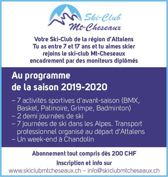 Ski club mt cheseaux, Attalens, Au programme de la saison 2019-2020