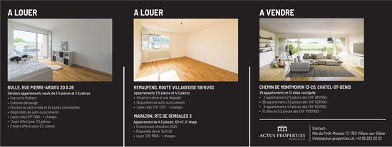 Appartements à louer et à vendre à Bulle, Remaufens, Maracon & Châtel-St-Denis