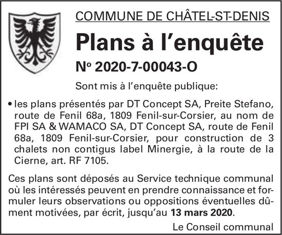 Plans à l'enquête No 2020-7-00043-O - Commune de Châtel-St-Denis