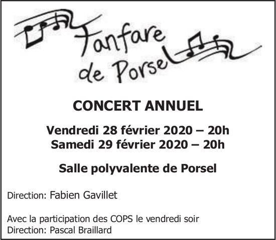 CONCERT ANNUEL, 28 & 29 Février, Fanfare de Porsel, Salle polyvalente de Porsel