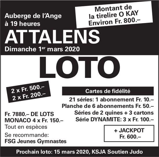 LOTO, 1 mars, Auberge de l'Ange, Attalens