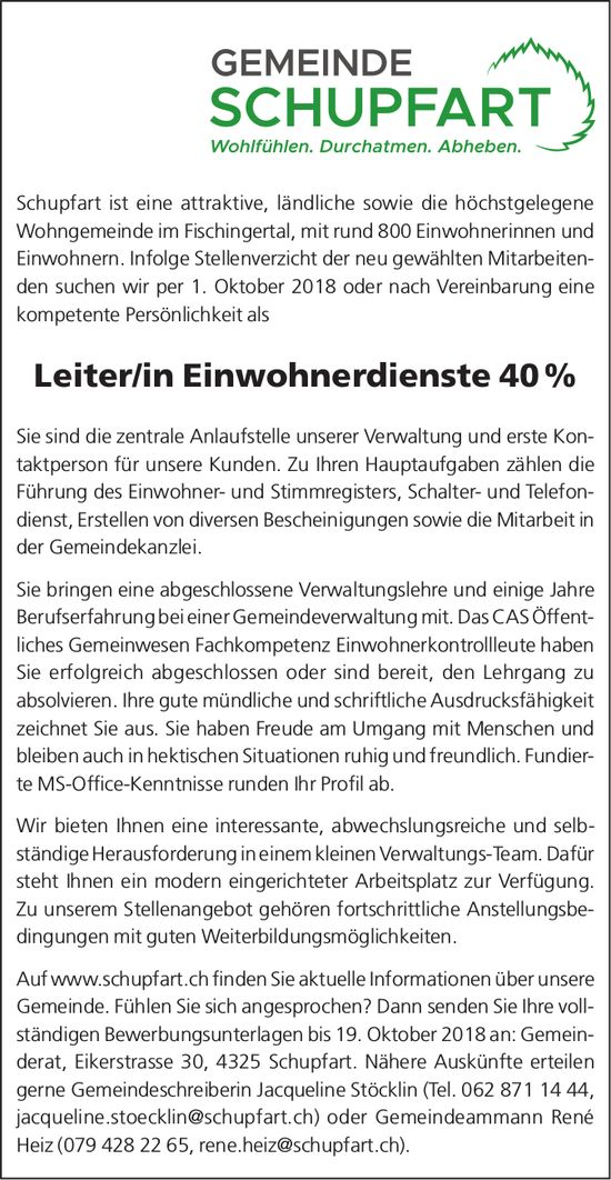 Leiter/in Einwohnerdienste 40 % bei Gemeinde Schupfart gesucht