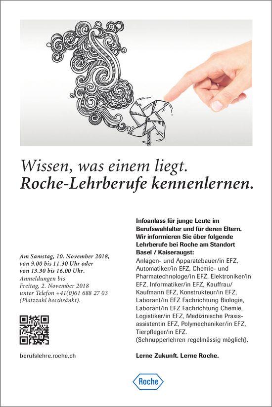 Roche-Lehrberufe: Infoanlass für junge Leute im Berufswahlalter und für deren Eltern am 10. November