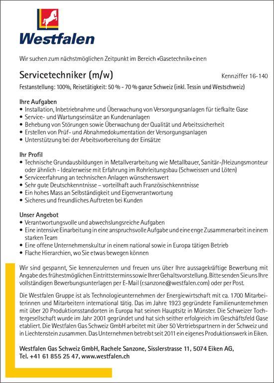 Servicetechniker (m/w) bei Westfalen Gas Schweiz GmbH gesucht