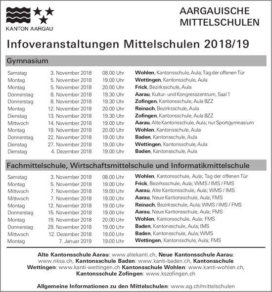 AARGAUISCHE MITTELSCHULEN - lnfoveranstaltungen Mittelschulen 2018/19
