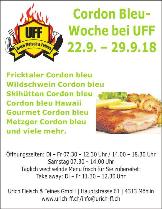 Cordon Bleu- Woche bei UFF, 22.– 29. September