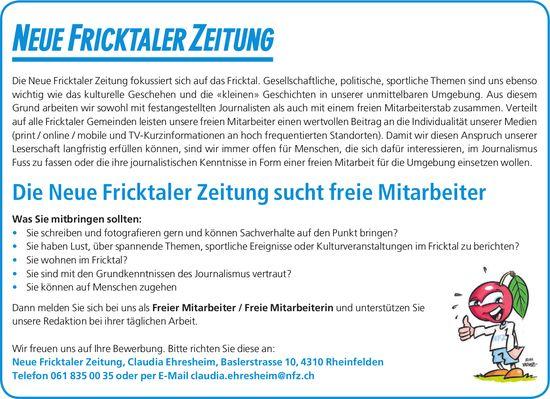 Die Neue Fricktaler Zeitung sucht freie Mitarbeiter