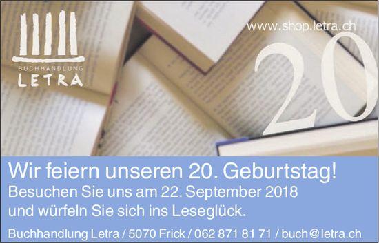 Buchhandlung Letra - Wir feiern unseren 20. Geburtstag! Besuchen Sie uns am 22. September