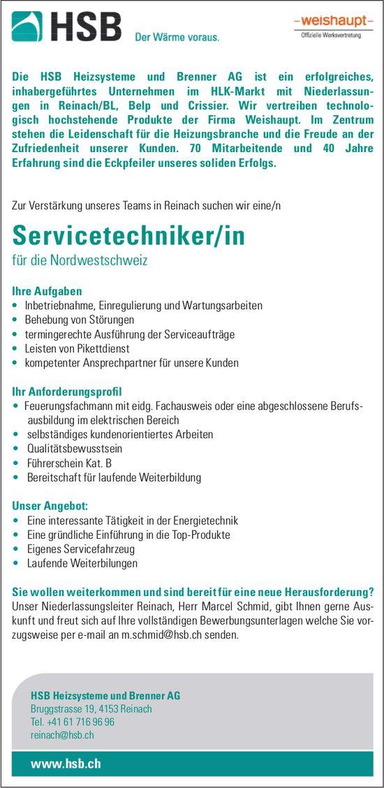Servicetechniker/in bei HSB Heizsysteme und Brenner AG gesucht