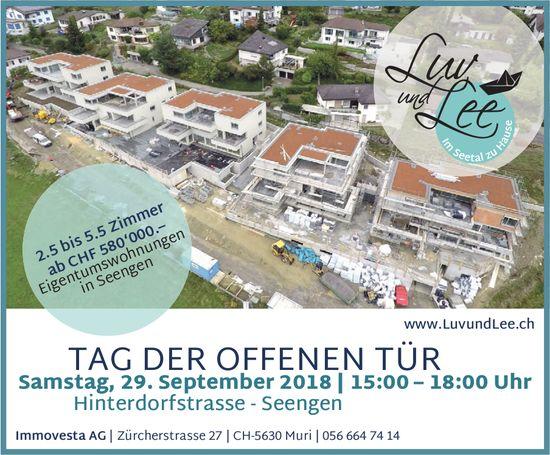 Luv und Lee, Eigentumswohnungen in Seengen: Tag der offenen Tür am 29. Sept.