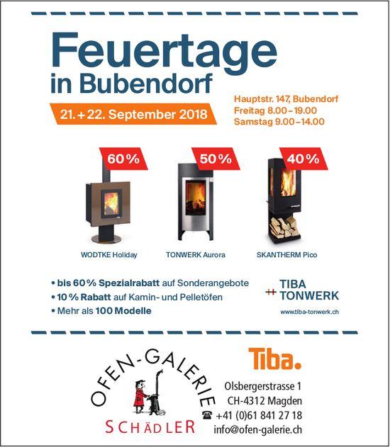 Offen-Gallerie Schädler - Feuertage in Bubendorf, 21. + 22. September
