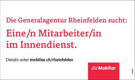 Die Generalagentur Rheinfelden sucht: Eine/n Mitarbeiter/in im Innendienst.