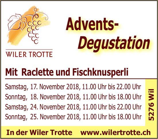 Wiler Trotte - Advents-Degustation mit Raclette und Fischknusperli, 17./18. + 24./25. November
