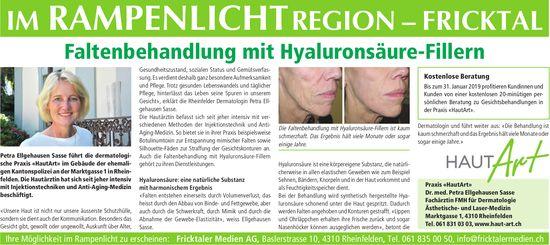 Im Rampenlicht Region Fricktal - Praxis «HautArt»: Faltenbehandlung mit Hyaluronsäure-Fillern