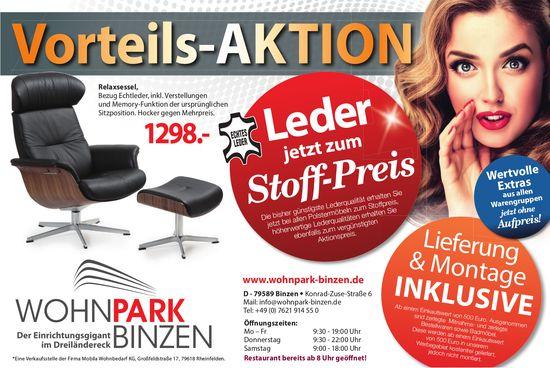 Wohnpark Binzen - Vorteils-AKTION: Leder jetzt zum Stoff-Preis
