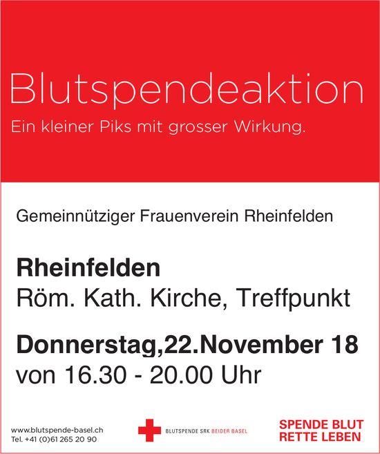 Blutspendeaktion in Röm. Kath. Kirche Rheinfelden am 22. November