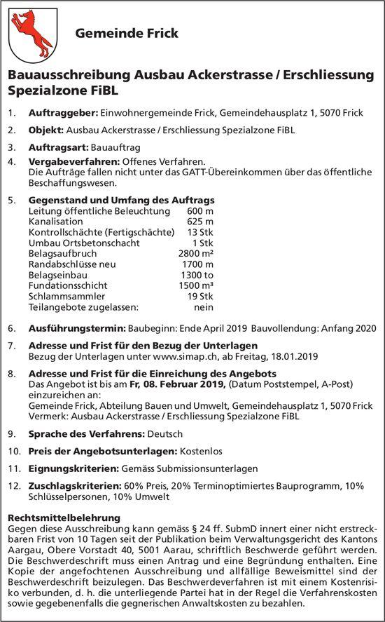 Gemeinde Frick - Bauausschreibung Ausbau Ackerstrasse / Erschliessung Spezialzone FiBL