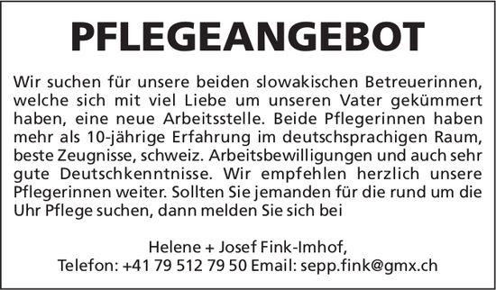 Helene + Josef Fink-Imhof - PFLEGEANGEBOT
