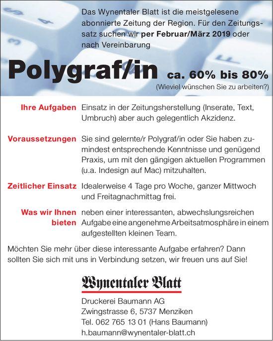 Polygraf/in ca. 60% bis 80%, Druckerei Baumann AG, Menziken, gesucht