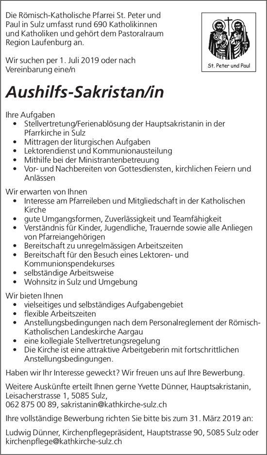 Aushilfs-Sakristan/in bei Die Römisch-Katholische Pfarrei St. Peter und Paul in Sulz gesucht