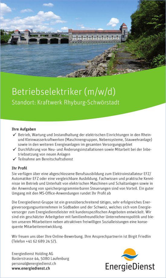 Betriebselektriker (m/w/d), Energiedienst Holding AG, Kraftwerk Rhyburg-Schwörstadt, gesucht