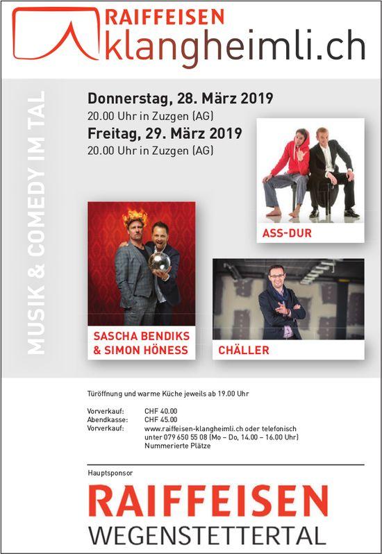 Raiffeisen Klangheimli - Musik & Comedy im Tal, 28. + 29. März