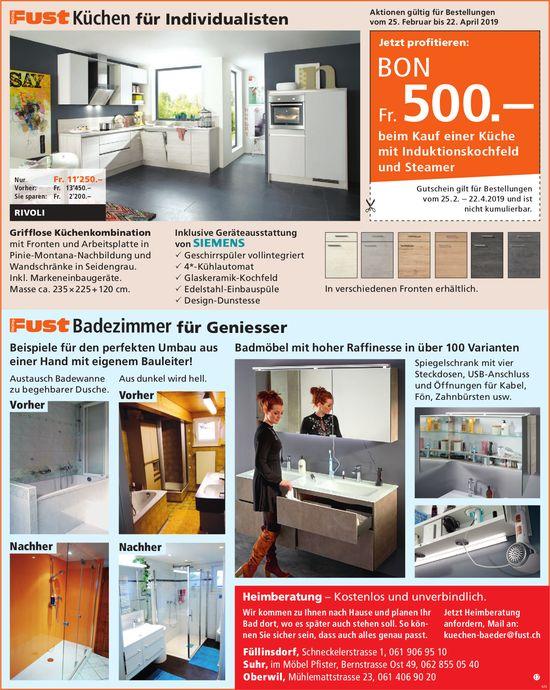 Fust Küchen für Individualisten / Fust Badezimmer für Geniesser