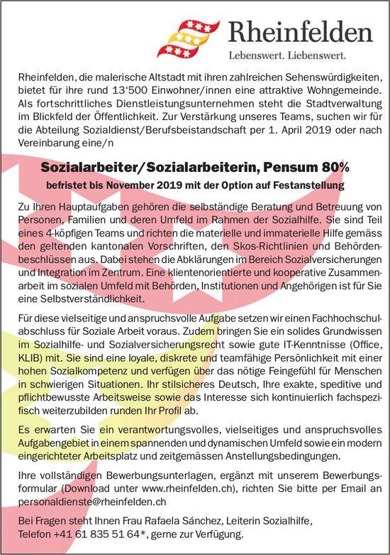Sozialarbeiter/Sozialarbeiterin, Pensum 80% bei Gemeinde Rheinfelden gesucht