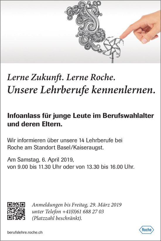 Infoanlass für junge Leute im Berufswahlalter & deren Eltern bei Roche Basel/Kaiseraugst am 6. April