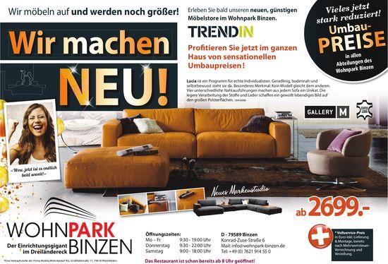 WohnPark Binzen - Wir machen neu! Wir möbeln auf und werden noch größer!: Reduziert Umbaupreise!
