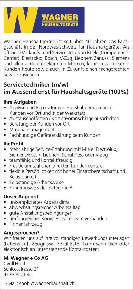 Servicetechniker (m/w) im Aussendienst für Haushaltsgeräte (100%) bei M. Wagner + Co AG gesucht