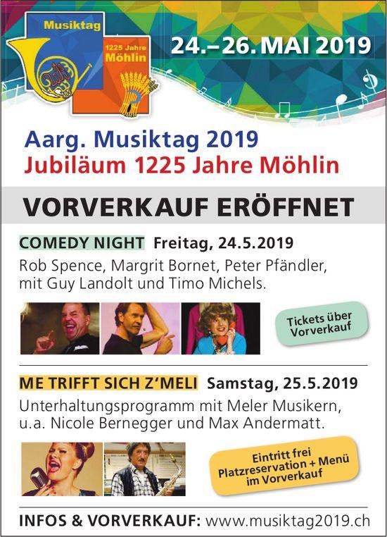 Aarg. Musiktag 2019 Jubiläum 1225 Jahre Möhlin, 24.-26. Mai - Vorverkauf eröffnet
