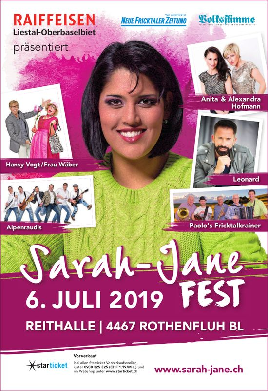 Sarah-Jane Fest am 6. Juli - ROTHENFLUH BL