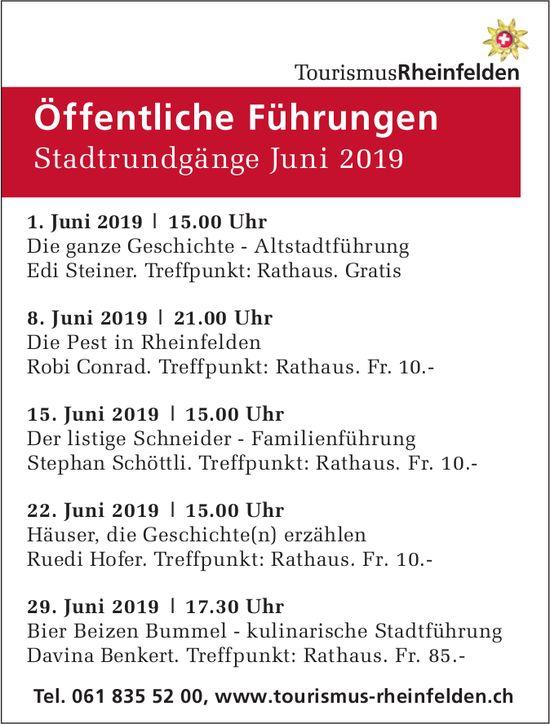 Öffentliche Führungen, Stadtrundgänge Juni 2019, Rheinfelden