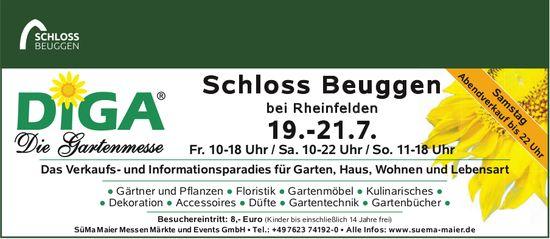 DIGA - Die Gartenmesse, 19. - 21. Juli, Schloss Beuggen, Rheinfelden