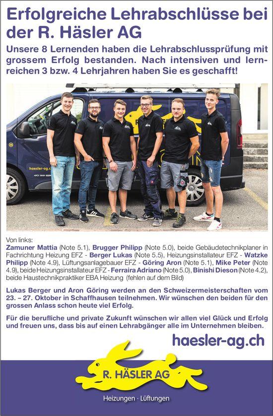 Erfolgreiche Lehrabschlüsse bei der R. Häsler AG