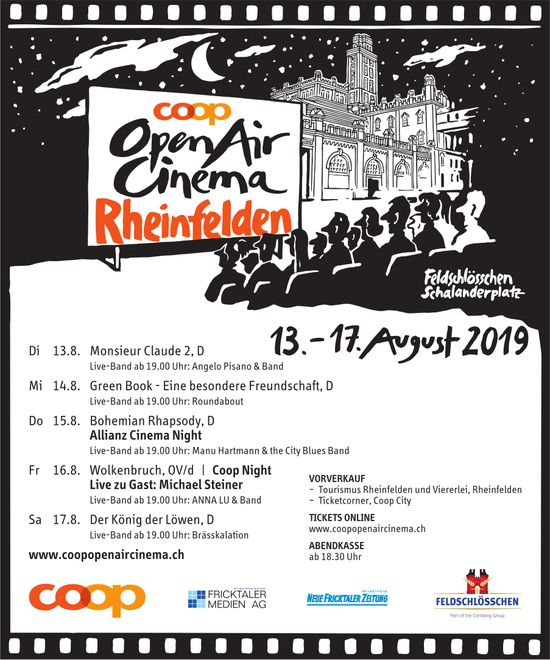 Coop OpenAir Cinema Rheinfelden, 13.-17. August